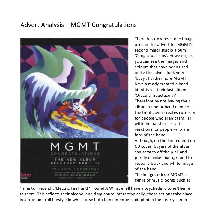 Advert Analysis - MGMT Congratulations